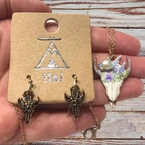 Floral Bull Pendant Earring and Necklace Set